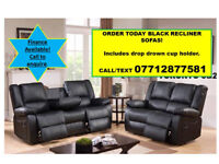 black recliner 3 and 2 sofas