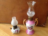 Two old decorative oil lamp, there complete.