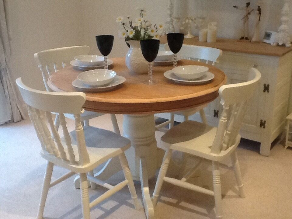 beautiful country cottage style dining table u0026 4 chairs with chunky pedestal in farrow ball room3 cottage