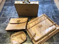 Vintage bags-- Jaguar. Four. Sold as set. Suit carrier, shoulder bag, briefcase, attache case.