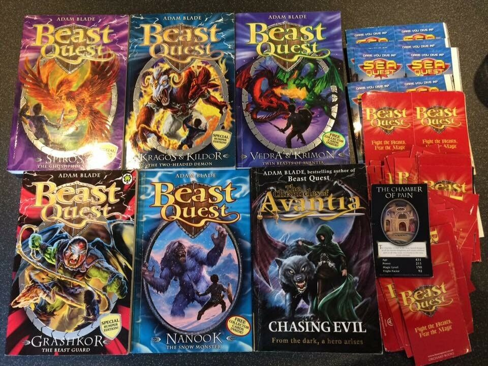 6 Beast Quest books and a pile of Beast Quest and Sea Quest cards
