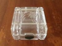 WEST COUNTRY CRYSTAL HAND CUT,ENGRAVED WITH FLOWER DESIGN, ORNAMENTAL BOX. (USED
