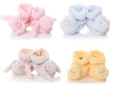 Neugeborenes Baby Tier Booties Schuhe Jungen Mädchen Blau Rosa Gelb Beige 0-12 - Gelb Baby Booties