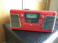 Red Retro Steepletone Record Player with Built in Speakers