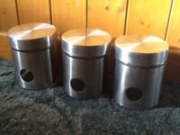 3 x Stainless Steel & Glass Storage Canisters / Jars - £5 for all
