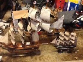 3 wooden ships 1 large 1 medium 1 small