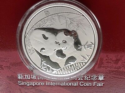 2018 SILVER PANDA SINGAPORE INTERNATIONAL COIN FAIR 1 oz - 500 mintage - IN HAND