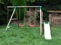 Wooden climbing frame, swing & slide
