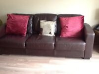 3 seater and 2 seater sofa bed brown leather