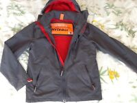 Superdry Jacket Grey with red fleece lining.