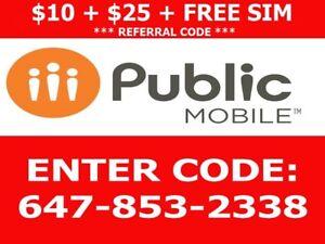 Public mobile $10 Referral + $25 Credit + FREE SIM 647-853-2338