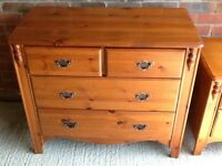 Pine chest of drawers and bedside cabinet excellent condition