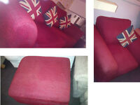STUNNING DFS FABRIC RED 3 SEATER SOFAS MATCHING CHAIR AND POUFFE BEAUTIFUL DESIGN AND MODERN
