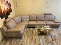 Big Family Sized Taupe Leather Corner Sofa