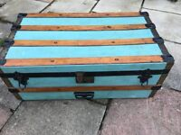 Wooden banded vintage trunk with inner tray, 76 x 42 x 32 cm tall, Viewing Welcome,