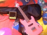 Cool Pink Electric Kids Guitar with Amp & Carry Bag
