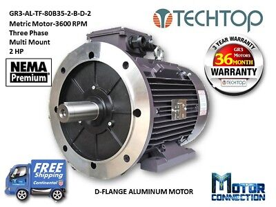 2 Hp Electric Motor Metric 3600 Rpm 3-phase D-flange Aluminum