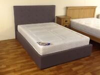 DOUBLE GREY OTTOMAN STORAGE BED WITH ORTHO MEMORY FOAM MATTRESS