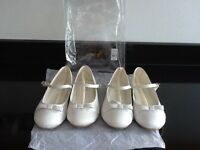 2 x Pairs Of Bridesmaids Ivory Ballerina Shoes Brand New Size 1