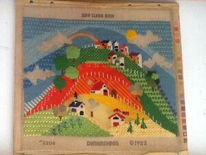 Vintage handmade knitted landscape art work 1982