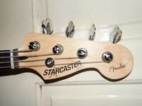 for sale starcaster jazz bass and bag