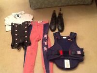 Children's riding wear: jodphurs, chaps, jodphur boots and body and shoulder protector