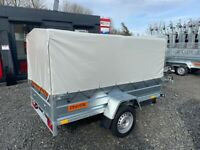 BRAND NEW MODEL 7.7x4.2 SINGLE AXLE TRAILER- WITH FRAME AND COVER (80CM) TIPPING