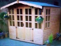 Playhouse summer house-garden room-shed-gym-teenage zone-playroom with tempered glass/over hang roof