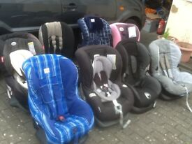 For 9mths upto 4yrs(15kg to 18kg)group 1 car seats-several available-all checked,washed & cleaned