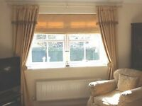 "Stunning Professionally made Curtains 1 PairGold 1PairCream £50 p/pair 85""(up to 90"")dropx77 ""length"