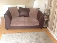 3x2 brown soft leather fabric suite
