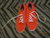 PINK CANVAS VANS WITH SILVER POLA DOTS IN AS NEW CONDITION SIZE 5