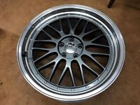 "SET 4 MESH LM ALLOY WHEELS 5x112 8.5x20"" ET42 GUNMETAL VW GOLF AUDI A4 SEAT LEON"