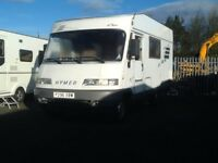 P reg hymer hymermobil MOTORHOME 4 berth fixed bed pull out awning 12 month mot low miles