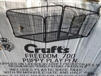 CRUFTS FREEDOM 700 PUPPY PLAY PEN AND EXTRA PANELS TO EXTEND