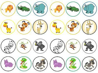 24 zoo animals safari african kids round cake cupcake toppers party edible paper (Safari Cupcake Toppers)