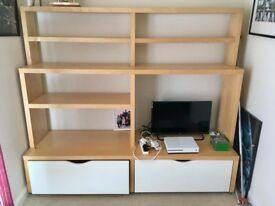 Large Ikea shelving unit with drawers. Unit Length 2m; height 1.75m; width 56cm.