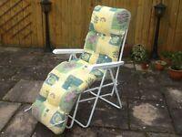 Padded reclining garden chair