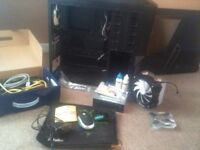 Zalman Z11 PC case + CPU fan + DVD drive + thermal cleaning set + box o' cables (collection only)