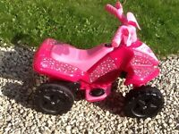 Pink Electric Kids 4 Wheel Bike