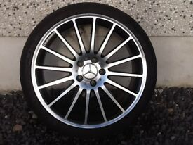 19INCH 5/112 MERCEDEZ C63 ALLOY WHEELS WITH WIDER REARS COMPLETE WITH TYRES FRONTS 8INCH REARS 9INCH