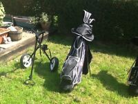 Full set. Left Hand Golf Clubs and Trolley