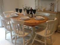 Beautiful extending solid pine dining table & 6 chairs finished in Farrow & Ball