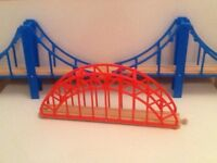 Wooden train set bridge pieces