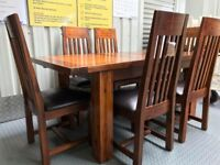 Designer Mark Webster Kember Solid Acacia Wood Extending dining table & 6 kember chairs