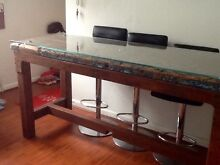 Glass topped old railway bench converted into table/dining table Croydon Burwood Area Preview