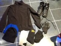 Workwear,steel toe cap boots,Reggata jacket,gloves,hat and beanie,4 pair socks only£8pos loc deliver