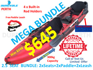 TANDEM KAYAK DUREVOLE BRAND 2.5 SEATER FAMILY KAYAK BUNDLE STOCK