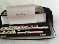 PEARL Silver flute in sheepskin carrying case