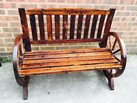 Garden Bench Wooden Outdoor 2-3 Seater Patio Bench Conservatory Furniture